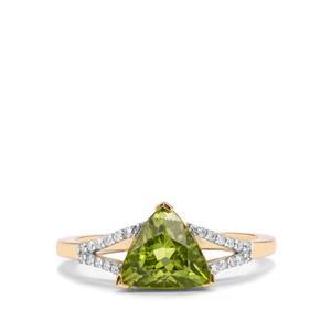 Pakistani Peridot & Diamond 14K Gold Tomas Rae Ring ATGW 2.15cts