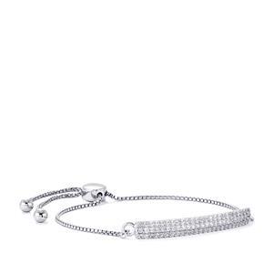 White Zircon Slider Bracelet in Sterling Silver 1.73cts
