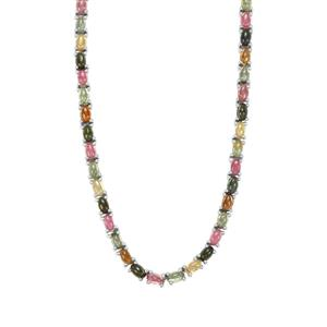 Rainbow Tourmaline Necklace in Sterling Silver 23.80cts