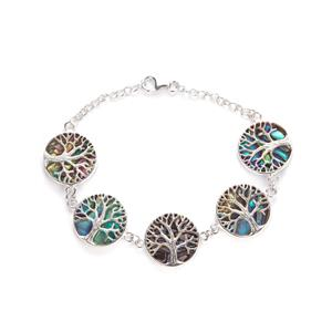 Paua Sterling Silver Tree of Life Bracelet (17mm)