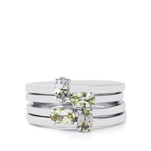 1.12ct Bi-Colour Tanzanite Sterling Silver Set of 4 Stacker Rings