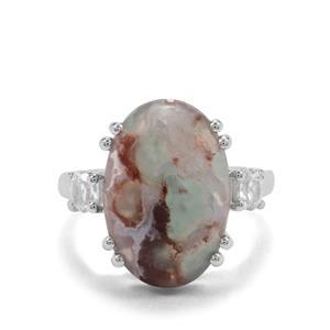 Aquaprase™ & White Zircon Sterling Silver Ring ATGW 8.61cts