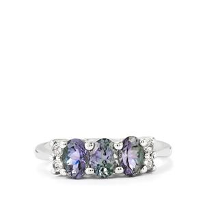 Bi-Color Tanzanite Ring with White Topaz in Sterling Silver 1.55cts
