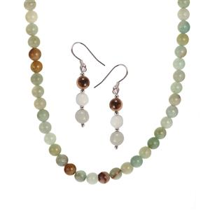 Amazonite Set of Necklace & Earrings in Sterling Silver 129.60cts