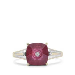 Lehrer QuasarCut Malagasy Ruby Ring with Diamond in 9K Gold 4.53cts (F)