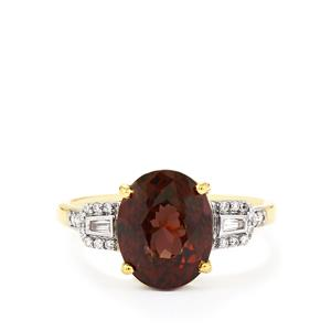 Color Change Garnet Ring with Diamond in 18k Gold 5.88cts