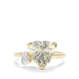 Lehrer Infinity Cut Prasiolite & Diamond 9K Gold Ring ATGW 3.32cts