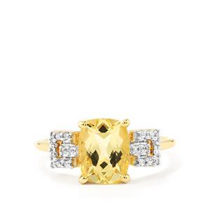 Xia Heliodor & White Zircon 9K Gold Ring ATGW 1.89cts