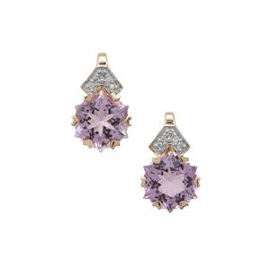 Wobito Snowflake Cut Rose De France Amethyst Earrings with Diamond in 9K Gold 4.45cts