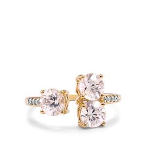 Singida Tanzanian Zircon Ring with Diamond in 10k Gold 2.53cts