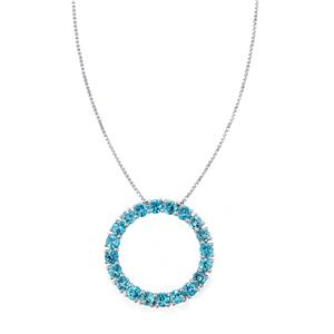 4.86ct Swiss Blue Topaz Sterling Silver Pendant Necklace