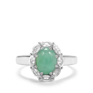 Prase Green Opal & White Topaz Sterling Silver Ring ATGW 2.19cts