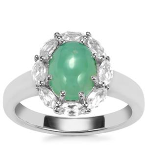 Prase Green Opal Ring with White Topaz in Sterling Silver 2.19cts
