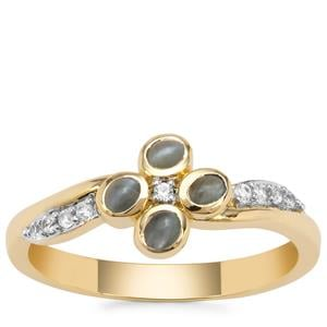 Cats Eye Alexandrite Ring with White Zircon in 9K Gold 0.51ct