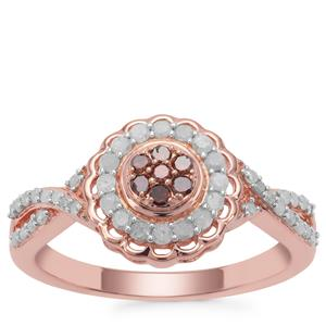 Cognac Diamond Ring with White Diamond in Rose Gold Plated Sterling Silver 0.51ct