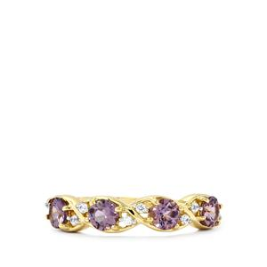 Mahenge Spinel Ring with White Zircon in 10k Gold 1.18cts