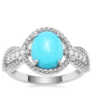 Sleeping Beauty Turquoise Ring with White Zircon in Sterling Silver 2.33cts