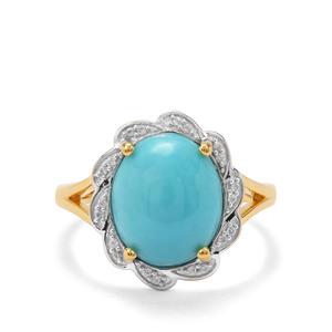 Sleeping Beauty Turquoise & White Zircon Midas Ring ATGW 3.85cts