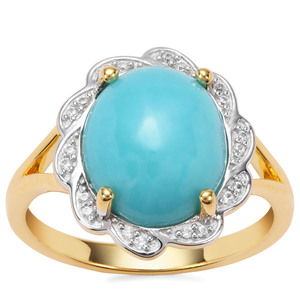 Sleeping Beauty Turquoise Ring with White Zircon in Gold Plated Sterling Silver 3.85cts