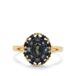 Natural Nigerian & Ceylon Blue Sapphire 9K Gold Ring ATGW 1.24cts