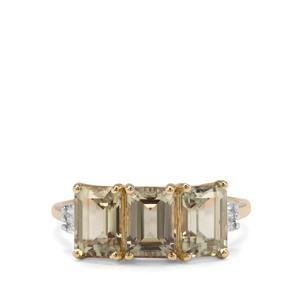 Csarite® & White Zircon 9K Gold Ring ATGW 3.73cts