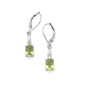 Cuprian Tourmaline Earrings with Diamond in 18K White Gold 1.87cts