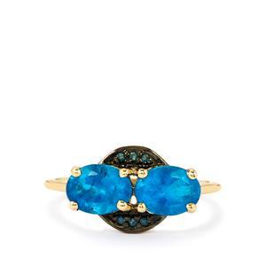 Neon Apatite & Blue Diamond 9K Gold Ring ATGW 1.92cts