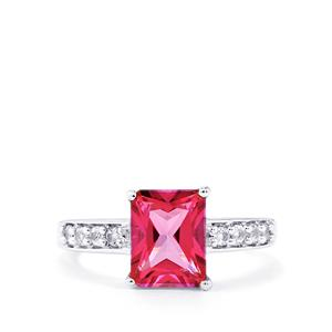2.89ct Mystic Pink & White Topaz Sterling Silver Ring