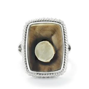 11.00ct Peanut wood Sterling Silver Aryonna Ring