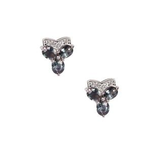 Tunduru Colour Change Sapphire Earrings with White Topaz in Sterling Silver 2.27cts