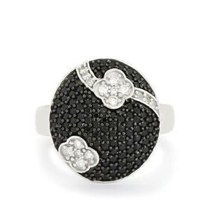 Black Spinel & White Topaz Sterling Silver Ring ATGW 1.26cts