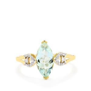 Espirito Santo Aquamarine Ring with Diamond in 10k Gold 1.41cts