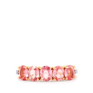 Sakaraha Pink Sapphire Ring with Diamond in 10K Rose Gold 2.08cts