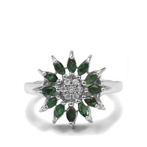 Santa Terezinha Emerald  & White Topaz Sterling Silver Ring ATGW 1cts