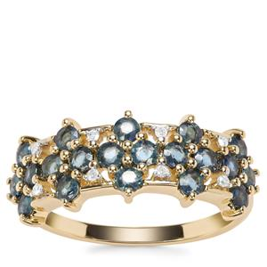 Nigerian Blue Sapphire Ring with Diamond in 9K Gold 1.41cts