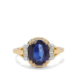 Nilamani & Diamond 9K Gold Ring ATGW 3.19cts