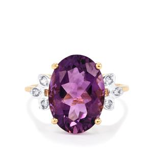 Bahia Amethyst Ring with White Zircon in 10K Gold 5.04cts