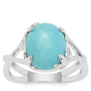 Sleeping Beauty Turquoise Ring in Sterling Silver 3.81cts