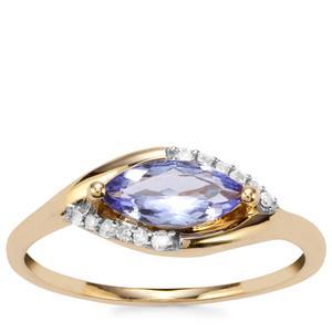AA Tanzanite Ring with Diamond in 9K Gold 0.74ct