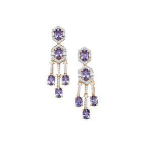 AAA Tanzanite Earrings with Diamond in 18K Gold 7.19cts