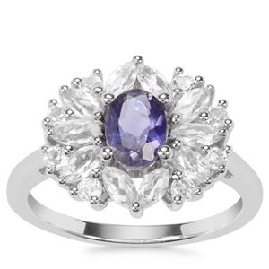 Bengal Iolite Partywear Ring with White Topaz in Sterling Silver 1.73cts