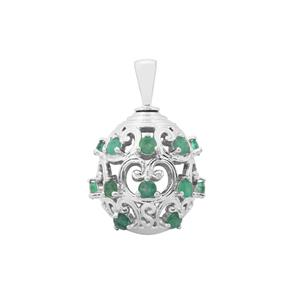 Zambian Emerald Moscow Egg Pendant in Sterling Silver 2.21cts