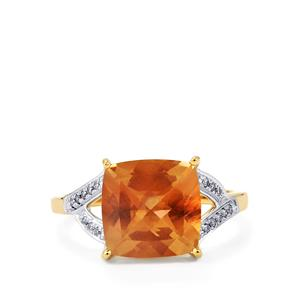 Oregon Sunstone Ring with Diamond in 14K Gold 3.58cts