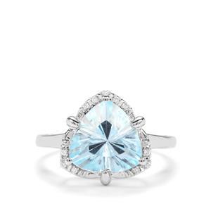 Lehrer Infinity Cut Sky Blue Topaz & Diamond 9K White Gold Ring ATGW 4.39cts