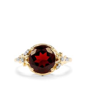 Rajasthan Garnet & Diamond 9K Gold Ring ATGW 3.16cts