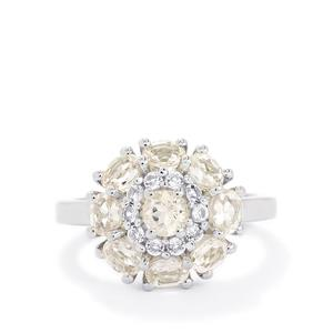 Zambezia Morganite & White Topaz Sterling Silver Ring ATGW 1.70cts