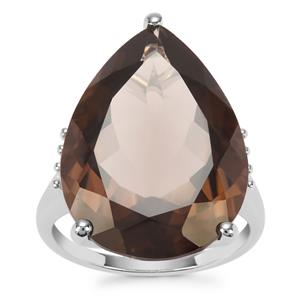 Smokey Quartz Ring with White Zircon in Sterling Silver 15.21cts