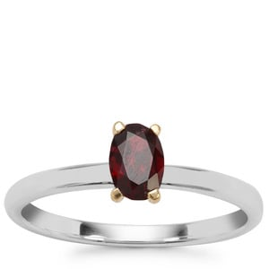 Burmese Red Spinel Ring in Sterling Silver With 18k Gold Collet 0.60ct