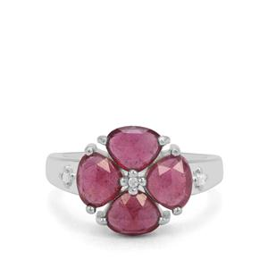 Rose Cut Moramanga Ruby & White Zircon Sterling Silver Ring ATGW 3.06cts (F)