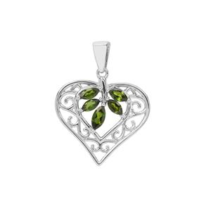 Chrome Diopside Heart Pendant in Sterling Silver 0.97cts